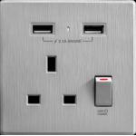 M2K AP105AL-G 2.1A 單USB充電面板 (牆紙紋面板) (太空灰)
