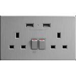 M2K AP202AL-G 2.1A 雙USB充電面板 (牆紙紋系列) (太空灰)