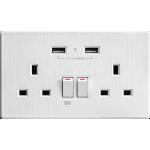M2K AP202AL-W 2.1A 雙USB充電面板 (牆紙紋系列) (純白色)