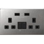 M2K AP202AM4-B 4.2A 雙位 USB 電制插座 (不銹鋼黑色)