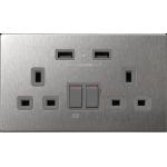 M2K AP202AM4-G 4.2A 雙位 USB 電制插座 (不銹鋼灰色)