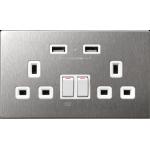 M2K AP202AM4-W 4.2A 雙位 USB 電制插座 (不銹鋼白色)